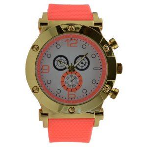 Γυναικείο ρολόι με λουρί σιλικόνης κοραλί 034