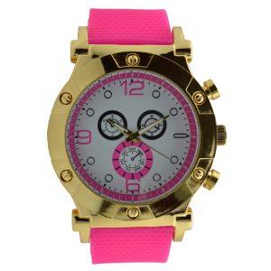 Γυναικείο ρολόι με λουρί σιλικόνης φούξια 035