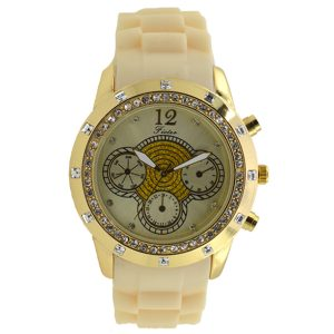 Γυναικείο ρολόι με στρας εκρού 030