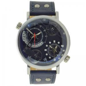 daniel klein 10445-7 ανδρικό ρολόι με μπλε δερμάτινο λουράκι και διπλή ένδειξη ώρας