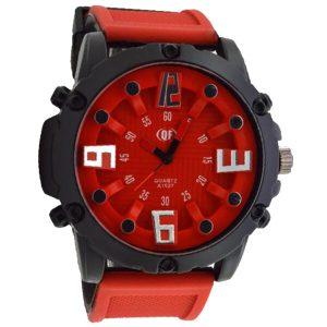 ρολόι qf κόκκινο με λουρί από σιλικόνη δίχρωμο (μαύρο-κόκκινο)