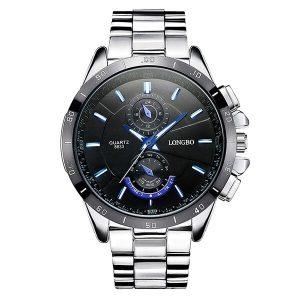Ανδρικό ρολόι LONGBO με μπρασελέ και μαύρο καντράν