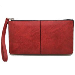 Πορτοφόλι γυναικείο κόκκινο με φερμουάρ και λουράκι