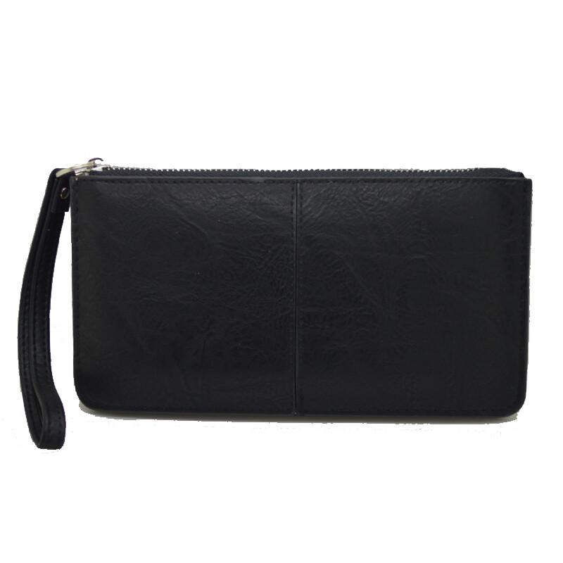 9edd87e361 Πορτοφόλι γυναικείο μαύρο με φερμουάρ και λουράκι