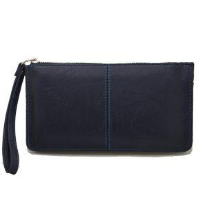 Πορτοφόλι γυναικείο μπλε με φερμουάρ και λουράκι