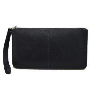 Πορτοφόλι γυναικείο μαύρο με φερμουάρ και λουράκι
