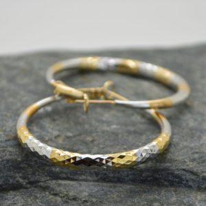 Γυναικεία σκουλαρίκια κρίκος σφυρίλατος από ανοξείδωτο ατσάλι.