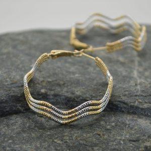 Γυναικεία σκουλαρίκια εξάγωνα από ανοξείδωτο ατσάλι σε χρυσό λευκό.