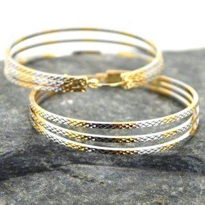 Γυναικεία σκουλαρίκια κρίκος τριπλός από ανοξείδωτο ατσάλι